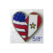 Heart Pin with USA Flag/Service Flag with Gold Star 5/8""