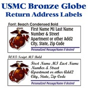 USMC Bronze Globe Stock Address Labels