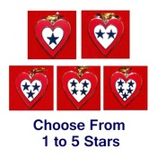 "Service Flag Heart Charm with 24"" Chain"