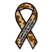 "Copy of Camo 8"" Ribbon Ribbon Magnet - Land of the Free Because of the Brave"