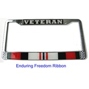 Veteran Enduring Freedom Ribbon License Plate Frame (Limited Availability)