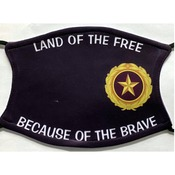 Gold Star Pin Logo face Covering W/Land of the Free