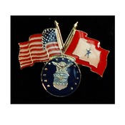 Air Force Pin with Crossed US/Service Flags