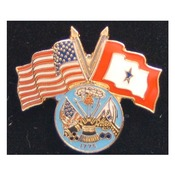 Army Pin with Crossed US/Service Flags