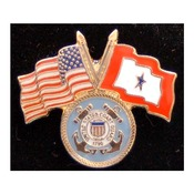 Coast Guard Pin with Crossed US/Service Flags