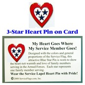 3-Star Service Flag Heart Pin