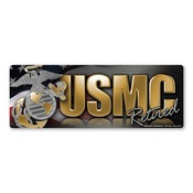 USMC Retired Chrome Bumper Strip Magnet