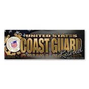 Coast Guard Retired Chrome Bumper Strip Magnet