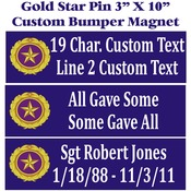 Custom Gold Star Pin Logo 3X10 Bumper Magnet