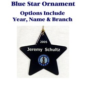 Blue Star Ornament w/Custom Text and Selected Branch logo
